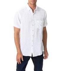 men's rodd & gunn regular fit ellerslie linen shirt, size xxx-large - white