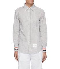 grosgrain stripe cuff seersucker shirt