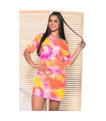 vestido camisetão tie dye m.a modas curto laranja