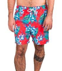 short de banho kevingston wind hawaii red estampado com forro interno e bolso traseiro numeração plus size