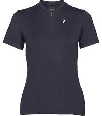 turf zip ss women t-shirts & tops polos blauw peak performance
