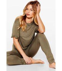 womens back where tee belong jogger pajama set - khaki