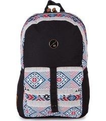 mochila casual para notebook hang loose astral em algodão e jacquard estampada multicolorido - kanui