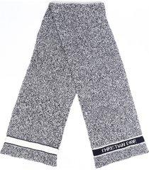 christian dior d-white blue knit flecked cashmere wool scarf blue/white/logo sz: