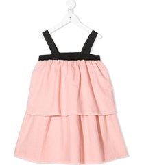 andorine sleeveless frayed dress - pink