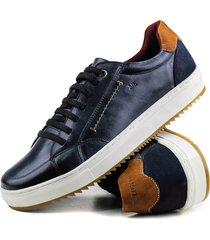 sapatãªnis casual tchwm shoes  4050 couro adulto - azul marinho - masculino - dafiti