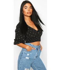 petite woven mini polka dot button through blouse, black