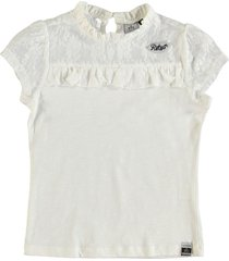 retour zacht off white shirt materiaalmix - meisje