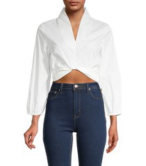 70/21 women's lantern-sleeve crop top - white - size l