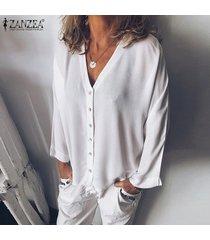 zanzea para mujer de manga larga con cuello en v tapas flojas camisas botón frontal de la blusa del tamaño extra grande -blanco