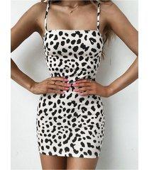 cuadrado de leopardo sin espalda sexy cuello correa de espagueti vestido