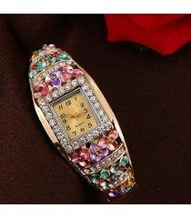 orologio da polso con cloisonne etnica orologio da polso con fiore in pietra preziosa lega orologio da polso al quarzo quadrante