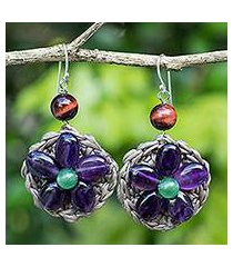 amethyst beaded flower earrings, 'purple daisy' (thailand)