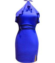 vestido bolero halter sarab vbh-007 azul