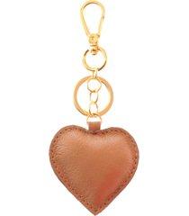 chaveiro couro maria verônica coração marrom