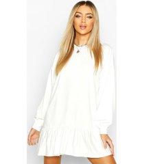 drop hem long sleeve sweatshirt dress, white
