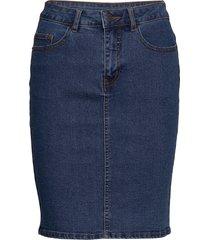 vmhot nine hw dnm pencil skirt noos knälång kjol blå vero moda