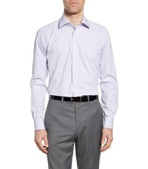 men's big & tall david donahue trim fit plaid dress shirt, size 18.5 - 34/35 - white