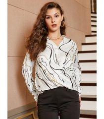 blusa de manga larga con cuello en v y estampado blanco de yoins