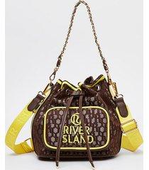 river island womens brown neon jacquard duffle bag