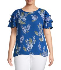 vince camuto women's plus weeping willows printed top - dusk blue - size 1x (14-16)