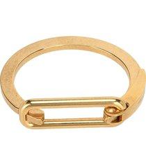 saint laurent carabiner logo-engraved bracelet