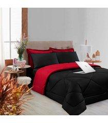 kit 6 pçs afável com cobertor e lençol casa dona preto e vermelho