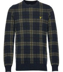 check knitted jumper gebreide trui met ronde kraag blauw lyle & scott