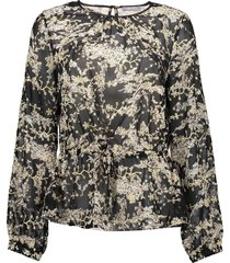 geisha 03880-99 999 blouse aop with string black/ off-white/ gold