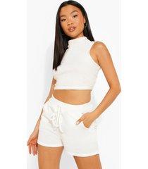 petite sweat shorts met strik, white
