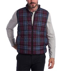 barbour men's slim-fit tartan gilet vest
