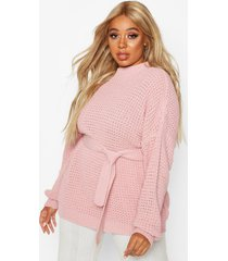 plus chunky knitted tie belt sweater, blush