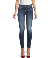 miss me women's low-rise wings-embroidered skinny jeans - dark blue - size 25 (2)