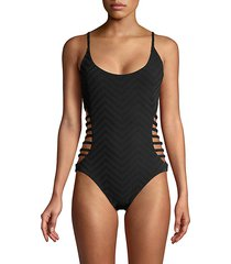 textured strappy cutout one-piece swimsuit