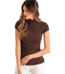 camiseta cuello tortuga manga corta café ragged pf14120008