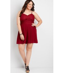 maurices plus size womens red lace top romper