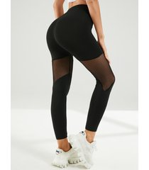 yoins leggings negros de malla con parche de cintura alta