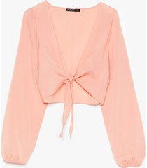 womens tie do you ask relaxed cropped blouse - pink