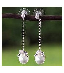 sterling silver and faux pearl dangle earrings, 'turtle touch' (mexico)