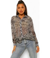 doorzichtige luipaardprint oversized chiffon blouse, white
