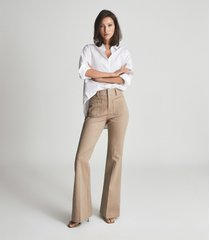 reiss jenny - cotton poplin shirt in white, womens, size 14