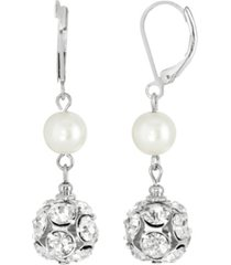 2028 silver-tone imitation pearl crystal fireball drop earrings