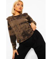 petite tie dye sweater met schouderpads, khaki