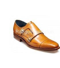 handmade men tan color monk shoes, men dress shoes, mens formal shoes, men shoes