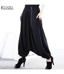 zanzea holgados gota-entrepierna pantalón elástico de las mujeres de la cremallera de los pantalones flojos ocasionales de harlan -negro