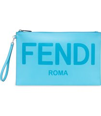 fendi logo zip leather wristlet -