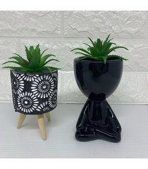 conjunto decorativo bob e vaso preto tripã© com suculenta - preto - feminino - dafiti