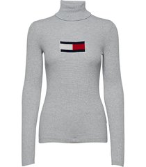 tjw tommy flag roll neck turtleneck coltrui grijs tommy jeans