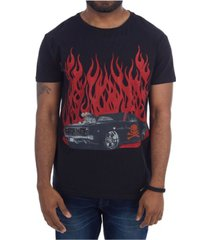 heads or tails 3d graphic printed hot rod skull rhinestone studded t-shirt