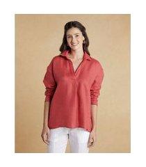 camisa camila em linho com manga longa cor: laranja deserto - tamanho: pp